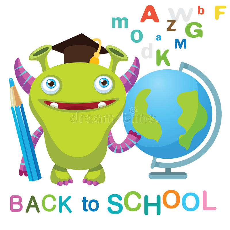 Funny Monster with Globe And Text Back to School On A White Background. Cartoon Monster Mascot. stock image