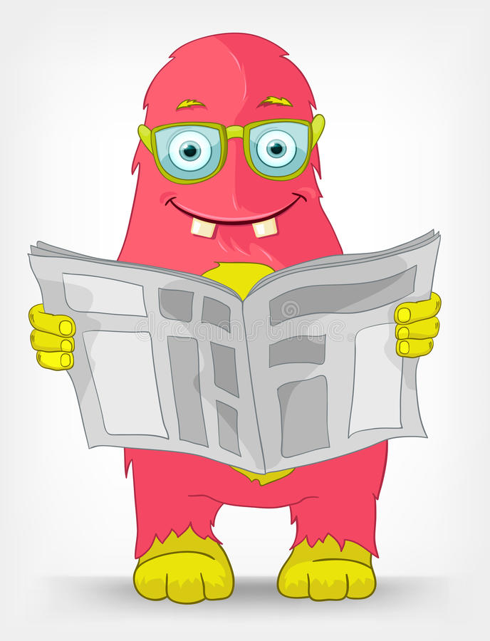 Funny Monster. News. Cartoon Character Funny Monster on Grey Gradient Background. News. Vector EPS 10 stock illustration