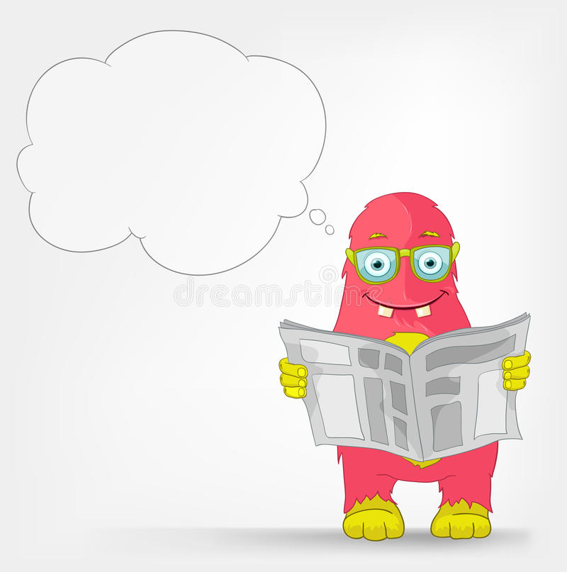 Funny Monster. News. Cartoon Character Funny Monster Isolated on Grey Gradient Background. News. Vector EPS 10 royalty free illustration