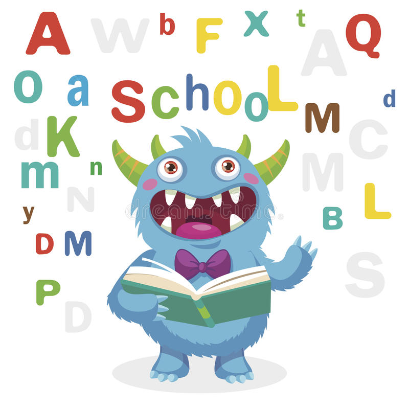 Funny Monster Read Book On A White Background. Cartoon Vector Illustrations. Back to School Theme. Colored Letters Vector. stock photo