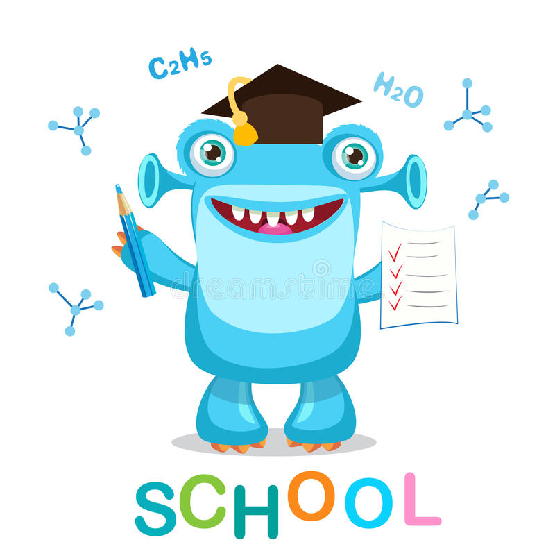 Funny Monster And Text Back To School On A White Background Vector Illustrations. Cartoon Monster Mascot. royalty free stock photos