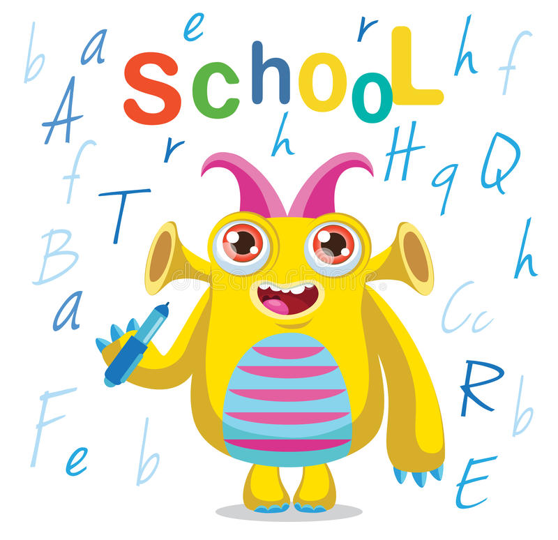 Funny Monster And Text School On A White Background. Cartoon Vector Illustrations. Back to School Theme. Colored Letters Vector. royalty free stock image