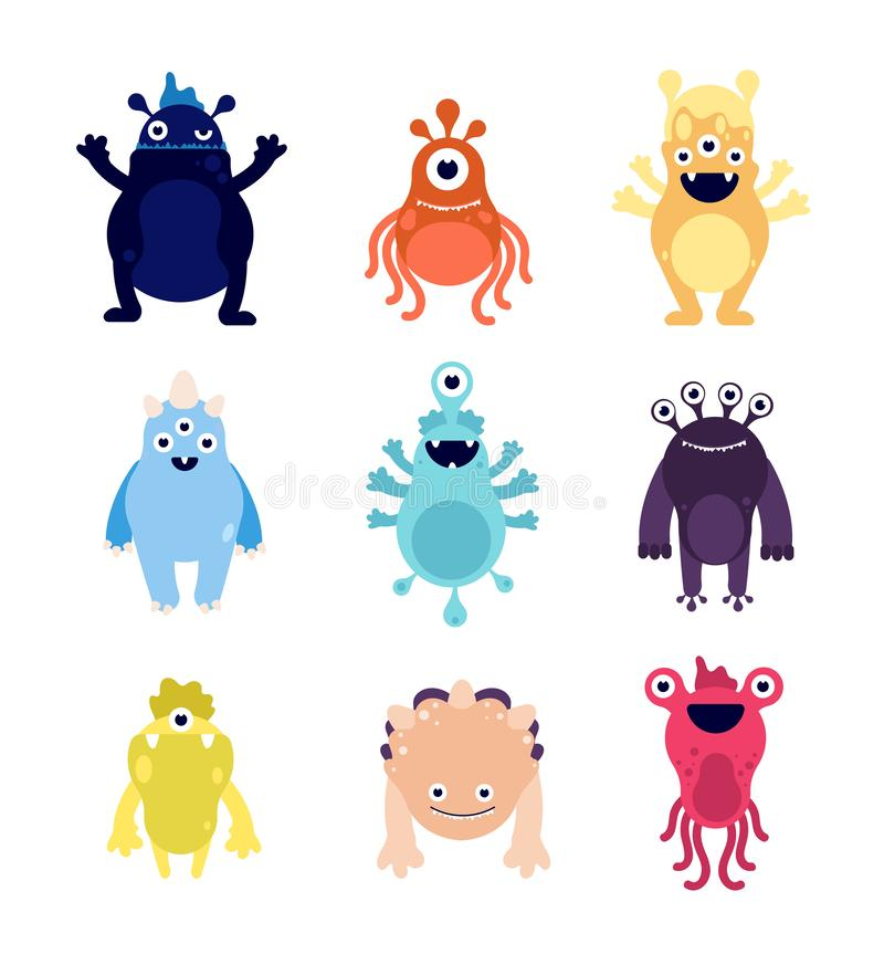 Funny monsters. Cute baby monster aliens bizarre avatars. Crazy hungry halloween animals isolated cartoon vector. Characters. Illustration bizarre animal alien vector illustration