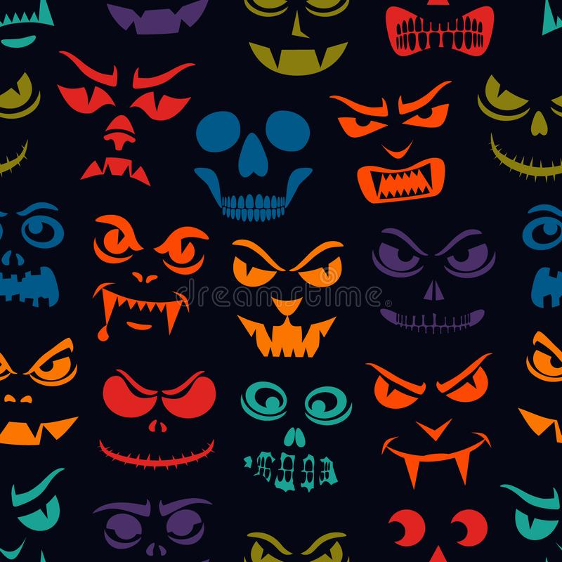 Funny monsters seamless pattern. Halloween pumpkin carved faces. Holiday cartoon characters. Vampires, skeletons, demons vector illustration