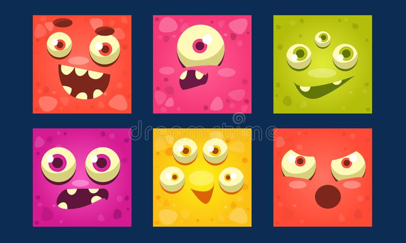 Funny Monsters Set, Colorful Mutant Emojis, Cute Emoticons with Different Emotions Vector Illustration. Web Design stock illustration