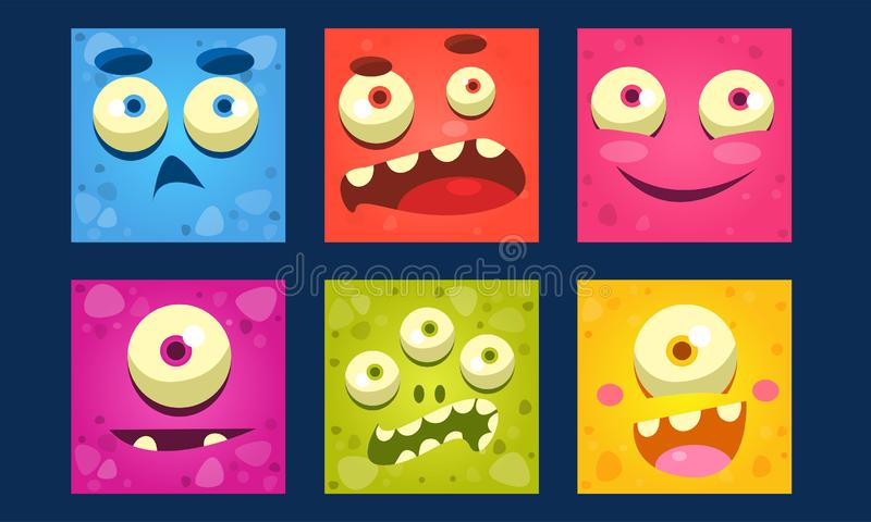 Funny Monsters Set, Colorful Mutant Emojis, Cute Emoticons Funny Faces Vector Illustration. Web Design vector illustration
