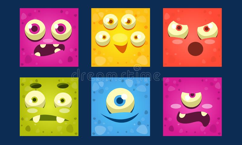 Funny Monsters Set, Colorful Square Mutant Emojis, Cute Emoticons with Different Emotions Vector Illustration. Web Design vector illustration