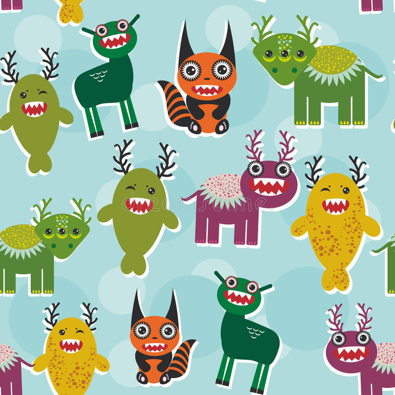 Funny monsters Set. seamless pattern on blue background. Vector stock illustration