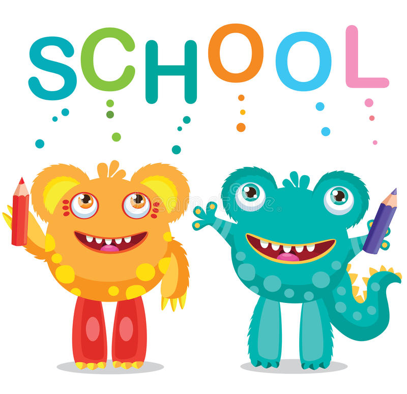 Funny Monsters And Text School On A White Background. Cartoon Vector Illustrations. Back to School Theme. Colored Letters Vector. stock photo