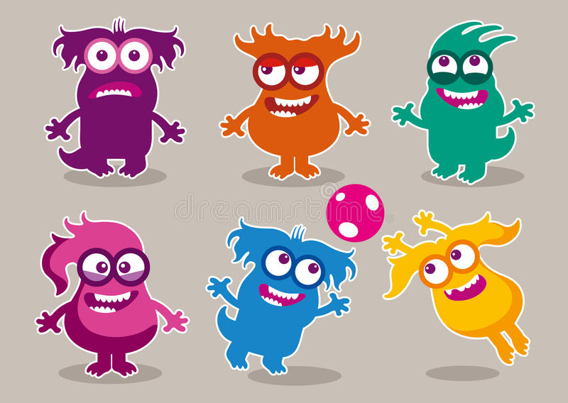 Funny monsters with various hairstyles royalty free stock photography