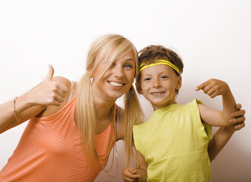 Funny mother and son with bubble gum stock photos