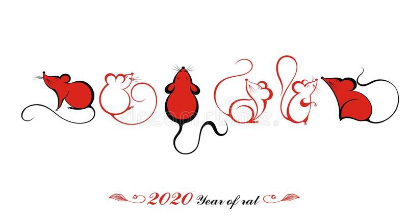 Happy Chinese New Year 2020 year of the rat. Chinese Zodiac Sign Year of Rat vector illustration