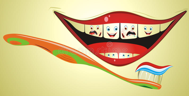 Funny Mouth With Toothbrush vector illustration