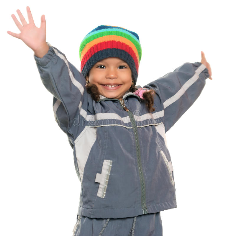 Funny multiracial small girl offering a hug stock images