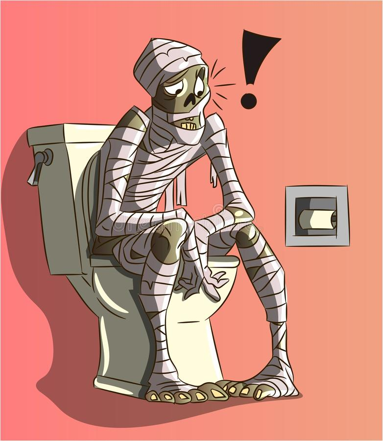 Funny mummy character with bandages illustration. Vector of ancient pharaoh sitting on wc without toilet paper drawing cartoon. stock illustration