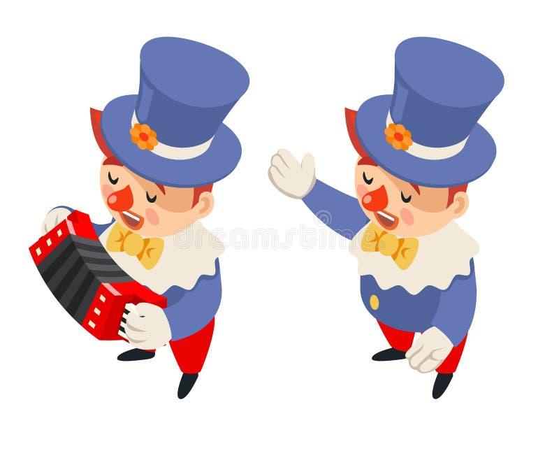 Funny music performance harmonika accordion playing singing isometric circus party fun carnival clown character icon. Funny music performance harmonika accordion royalty free illustration