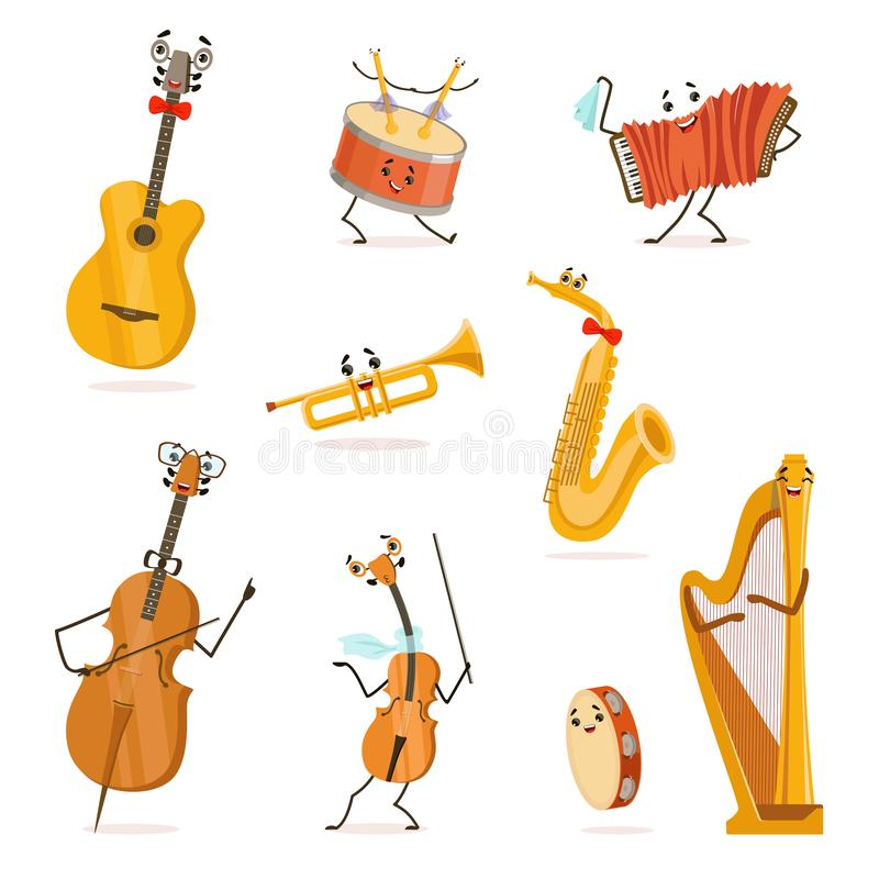 Funny Musical Instruments Cartoon Characters with Funny Faces Set, Cello, Saxophone, Trumpet, Accordion, Guitar. Tambourine, Violin, Drum, Harp, Violoncello vector illustration