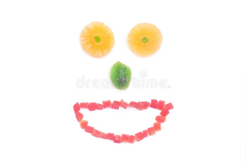 Funny muzzle of dried fruit stock images