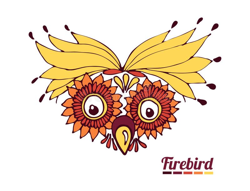 Funny muzzle firebird. a fantastic parrot or an owl stock illustration