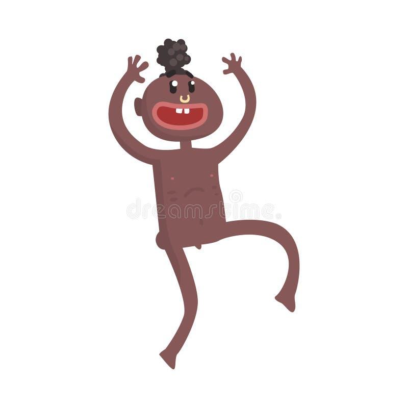 Funny naked black skinned man aborigine dancing ritual dance. Indigenous peoples of African or Australian tribe. artoon flat vector illustration character stock illustration