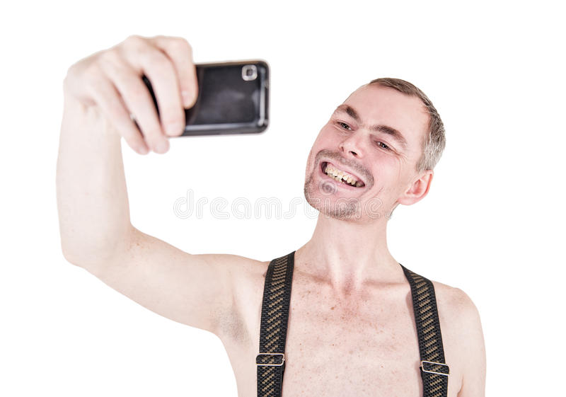 Funny naked man taking selfie royalty free stock images