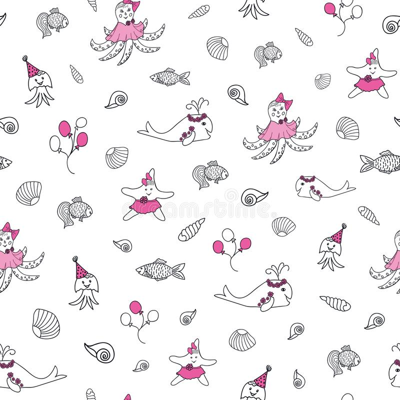 Pink, black and white sea nautical vector pattern royalty free illustration