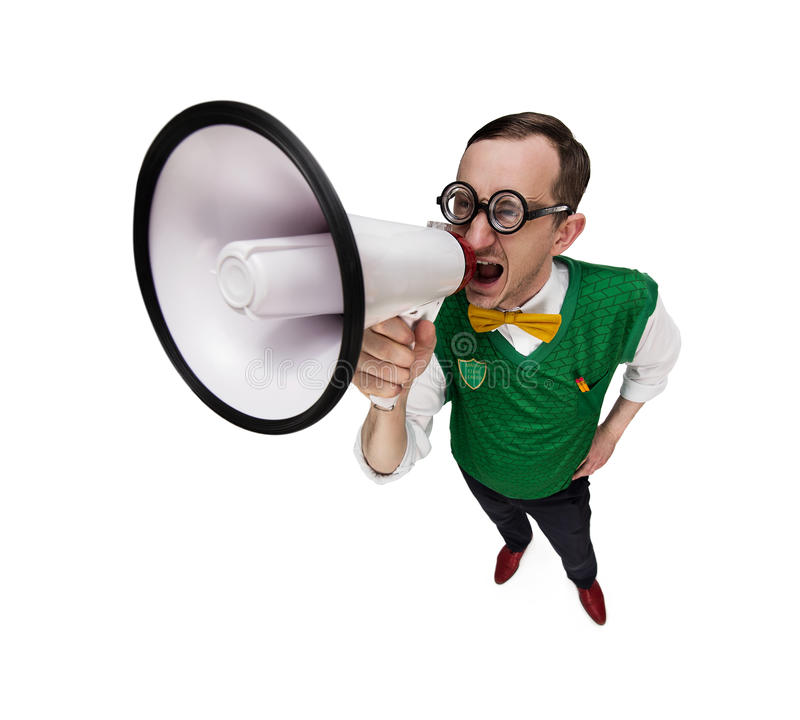 Funny nerd announcing news stock photo