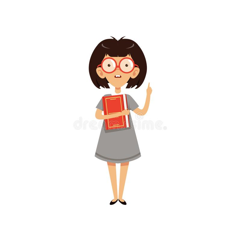 Funny nerd girl holding book and index finger up. Cartoon character with brown hair and two large front teeth. Smart kid royalty free illustration