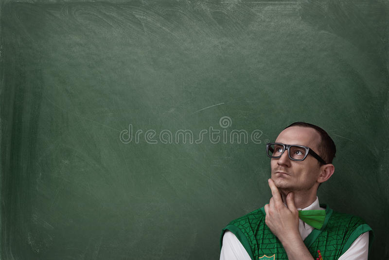 Funny nerd thinking stock photos