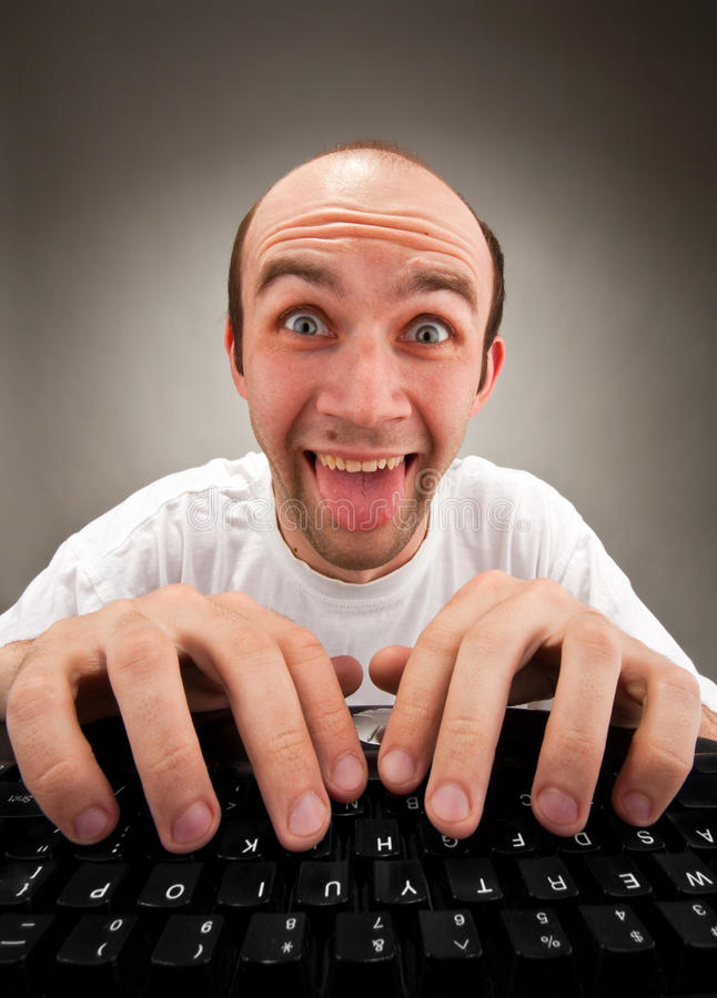 Download Funny Nerd Working On Computer Stock Image - Image: 18870129