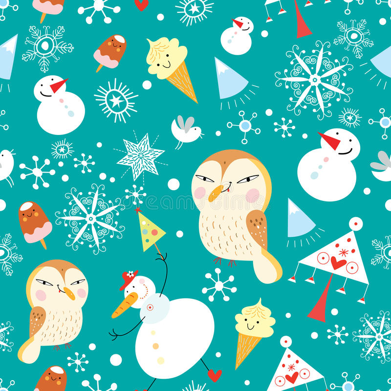 Funny New Year's pattern royalty free illustration