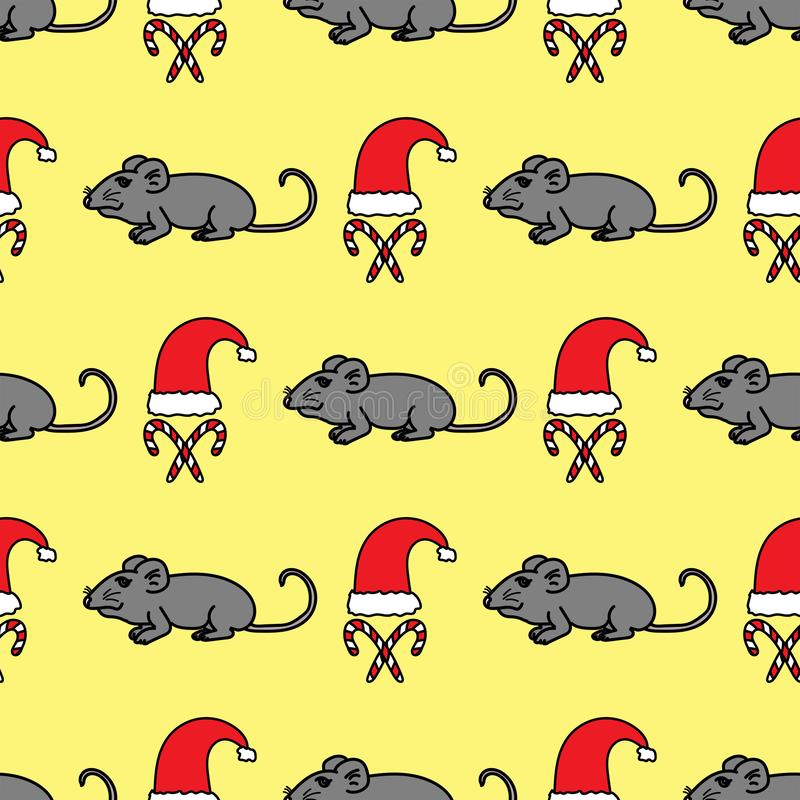 Funny new year seamless pattern. Repetitive print with rats, candy canes and Santa Claus hats drawn by hand. Cool vector illustration royalty free illustration