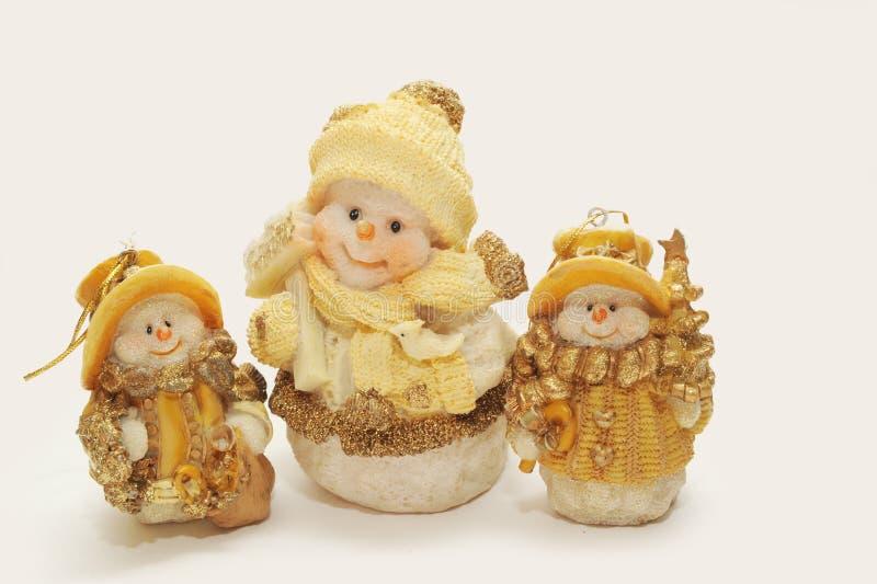 Funny New Year Snowmen Royalty Free Stock Photography