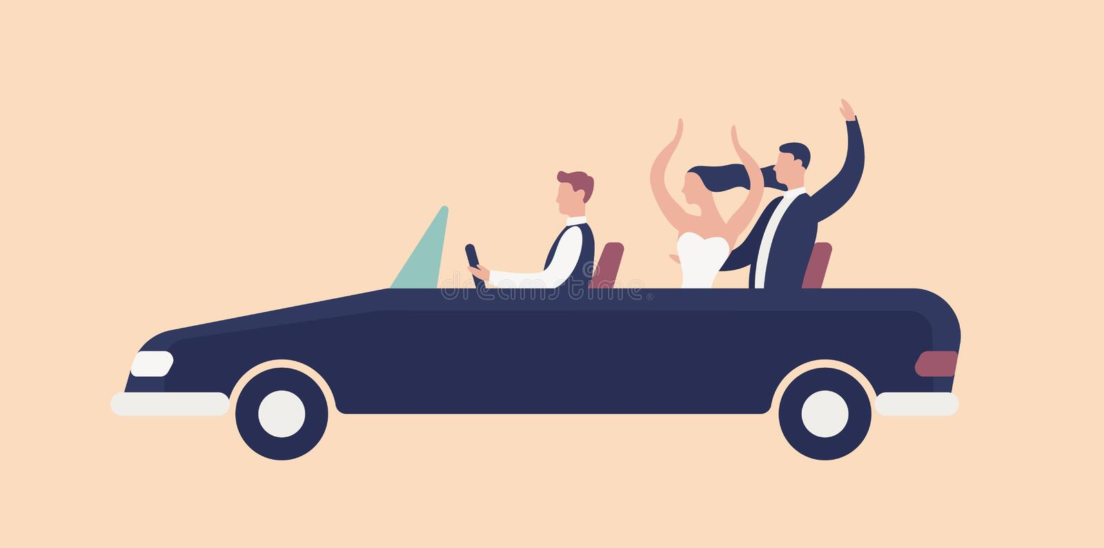 Funny newlyweds riding in cabriolet car with driver and rejoicing. Cute romantic couple celebrating marriage. Happy. Bride and groom in wedding automobile. Flat stock illustration