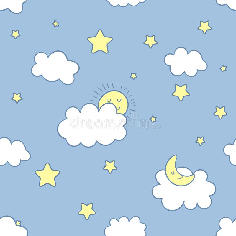 Funny night sky vector seamless pattern. Emotional clouds, sun, moon, stars and rainbow in kawaii style with smiling stock illustration