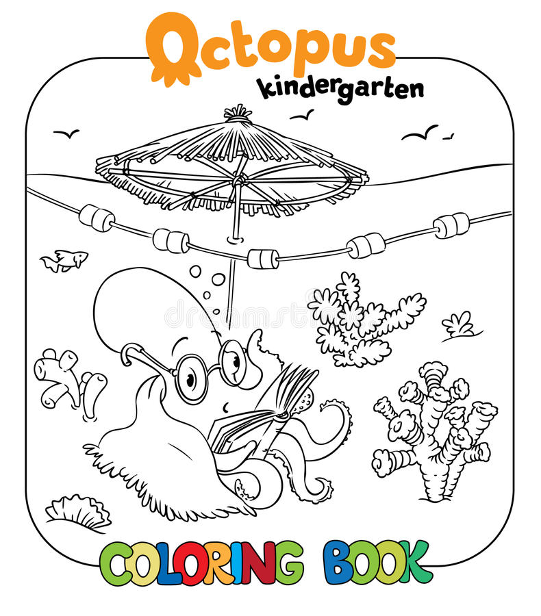 Funny octopus coloring book royalty free illustration