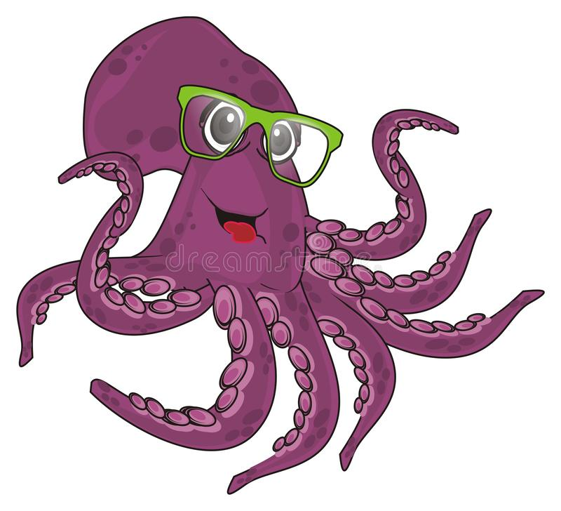 Funny octopus in glasses. Smiling purple octopus in green glasses vector illustration
