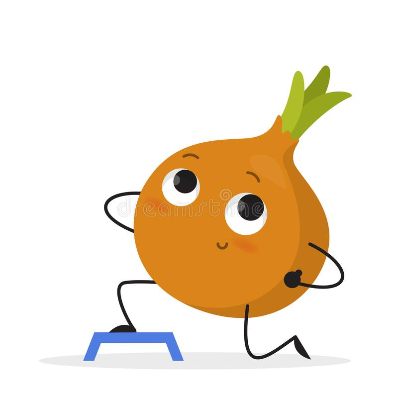 Funny onion character doing sport exercise in the gym royalty free illustration