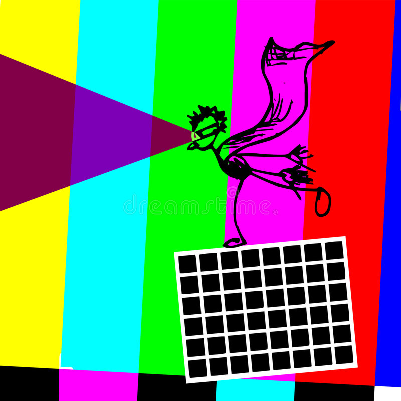 Funny Optical Illusion TV Super hero royalty free stock images