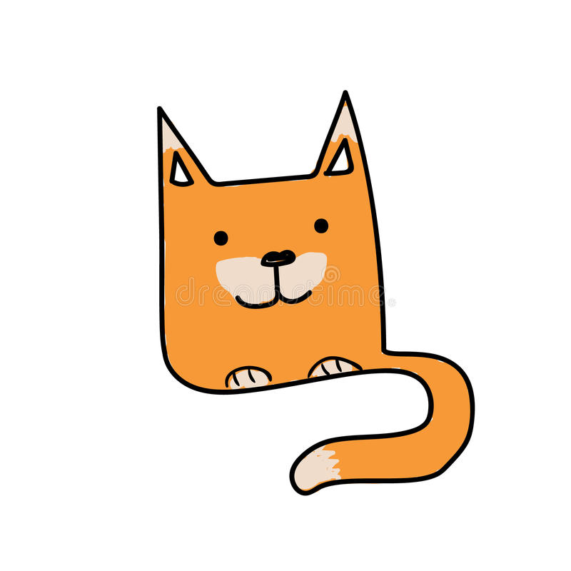 Funny orange fox with long tail hand drawn royalty free stock photography