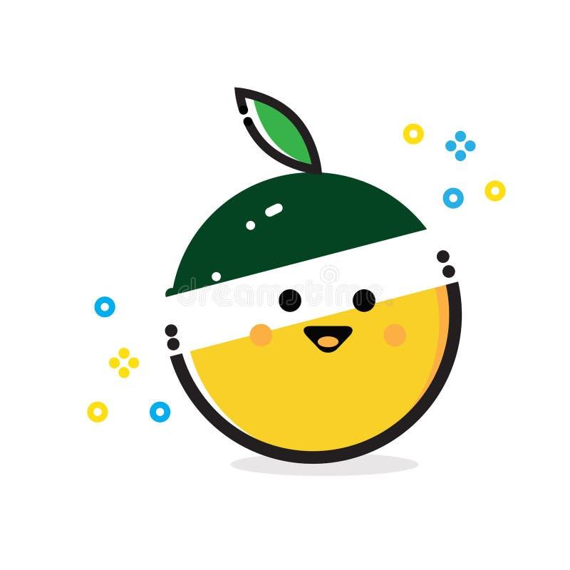 Funny Orange Fruit stock illustration