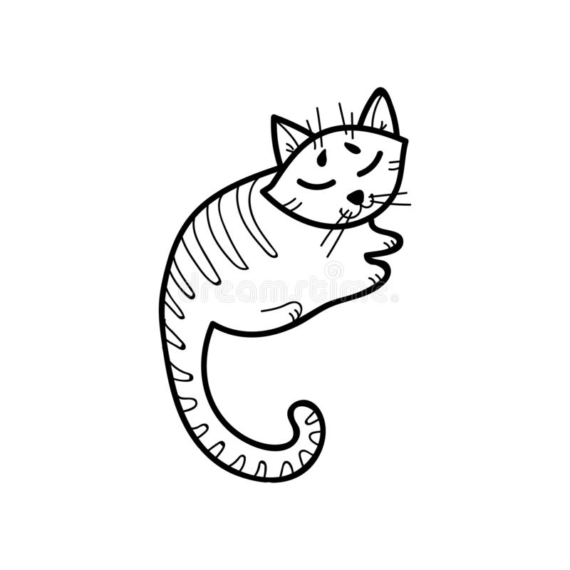 Funny outline sleeping cat vector illustration. Can be use for label, sticker, poster and design elements. stock illustration