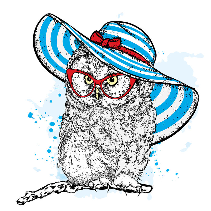 Funny owl in a beautiful beach hat and sunglasses. Vector illustration for a postcard or poster, print for clothes, cup or cover. Bird painted by hand stock illustration