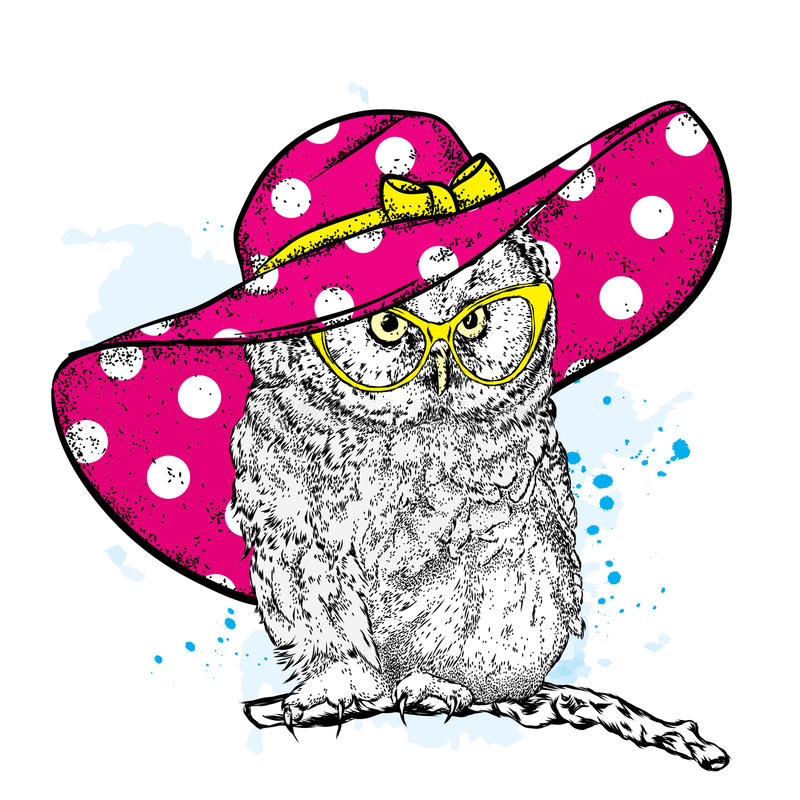 Funny owl in a beautiful beach hat and sunglasses. Vector illustration for a postcard or poster, print for clothes, cup or cover. Bird painted by hand vector illustration