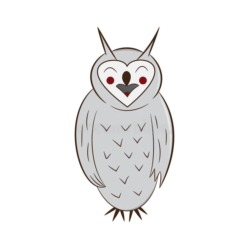 Funny owl. handdrawn. isolated on white background. royalty free stock photos
