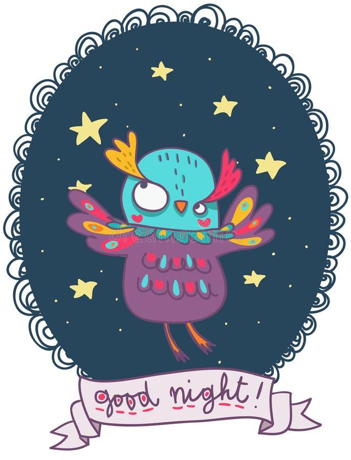 Funny owl illustration for a good night royalty free illustration