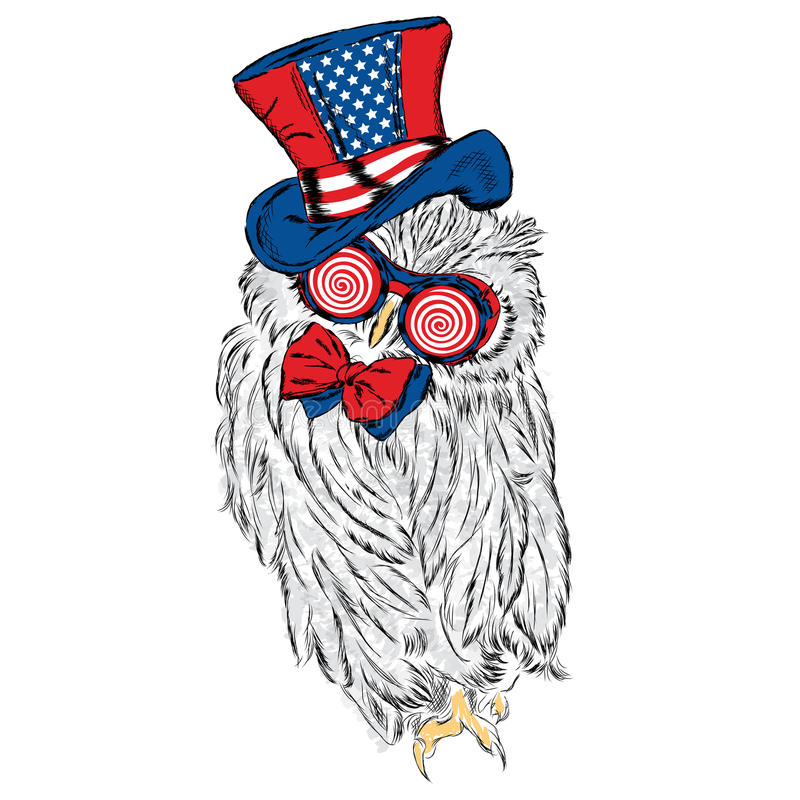 Funny owl in an unusual hat and sunglasses. Vector illustration royalty free illustration