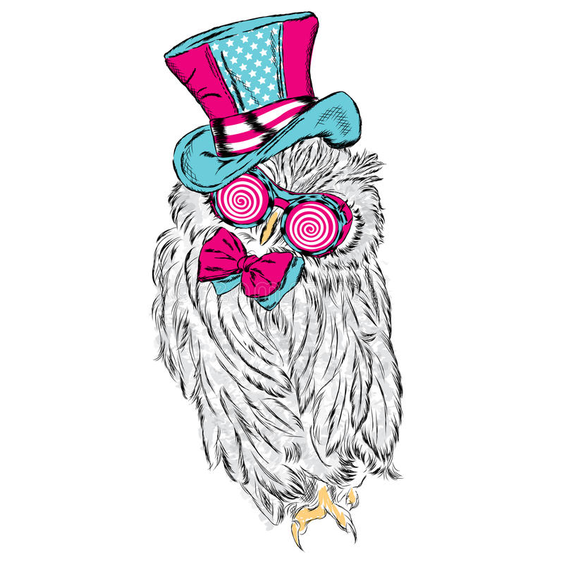 Funny owl in an unusual hat and sunglasses. Vector illustration vector illustration