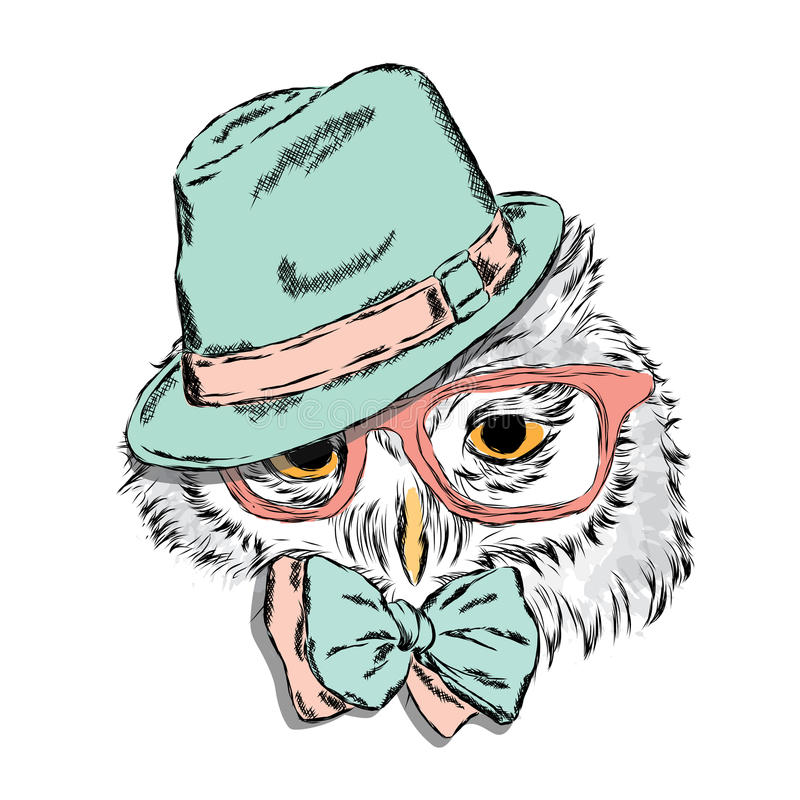 Funny owl wearing a hat and sunglasses. Vector illustration for greeting card, poster, or print on clothes. Hipster. Bird clothing. Fashion & Style vector illustration