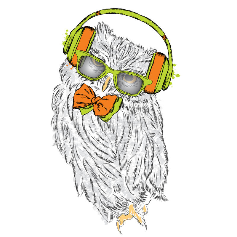 Funny owl wearing headphones and sunglasses. Vector illustration for greeting card, poster, or print on clothes. Hipster. Bird clothing. Fashion & Style. Music stock illustration